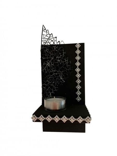 Wandbrett, Wanddeko, Unikat, schwarz mit Teelicht _Bild1