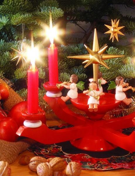 Adventsleuchter mit Weihnachtsengel, rot, 24 cm, Richard Glässer GmbH Seiffen/ Erzgebirge