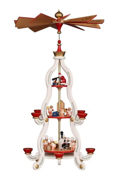 Weihnachtspyramide 3-stöckig, weiss mit Bäckerengel, 86 cm von Christian Ulbricht GmbH & Co KG Seiffen/ Erzgebirge Diese wunderschöne weiß-rote …