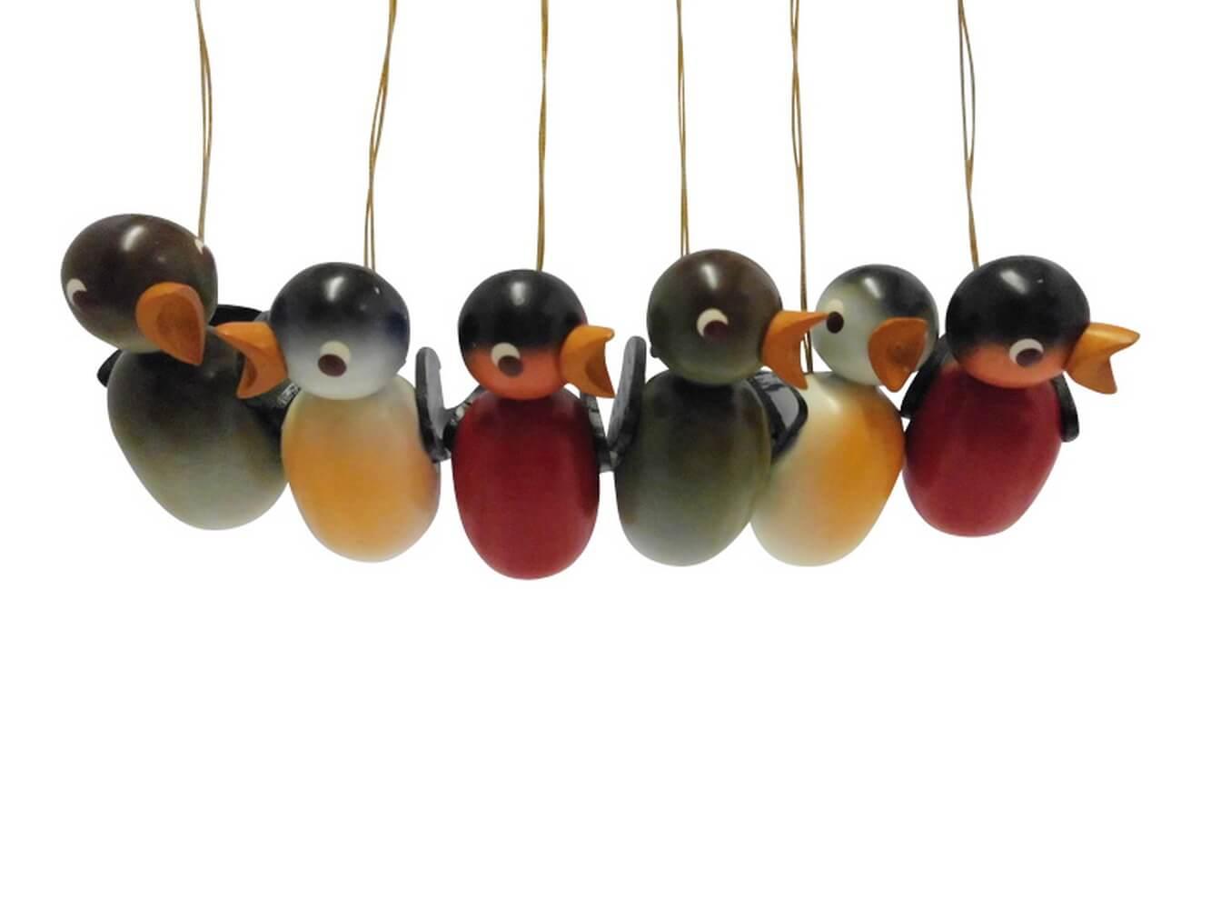 Vögel zum hängen, 6 Stück aus Buchenholz gefertigt, farbig lackiert, 5 cm von Nestler-Seiffen.com OHG Seiffen/ Erzgebirge