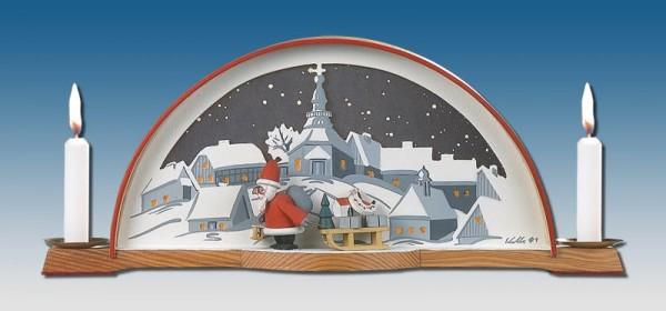 Schwibbogen mit Weihnachtsmann und elektrischer Hintergrundbeleuchtung, 33 x 14 cm, Manufaktur Klaus Kolbe Seiffen/ Erzgebirge