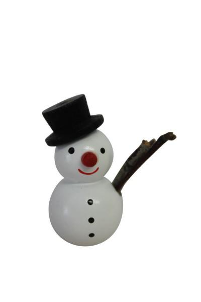 Weihnachtsfigur Schneemann mit schwarzem Hut, 3,6 cm, Nestler-Seiffen.com OHG Seiffen/ Erzgebirge