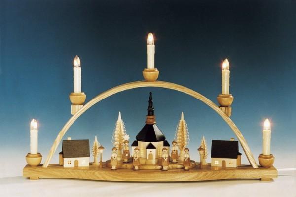 Schwibbogen Seiffener Kirche mit beleuchteten Häusern, natur, komplett elektrisch beleuchtet, 51 cm, Knuth Neuber Seiffen/ Erzgebirge