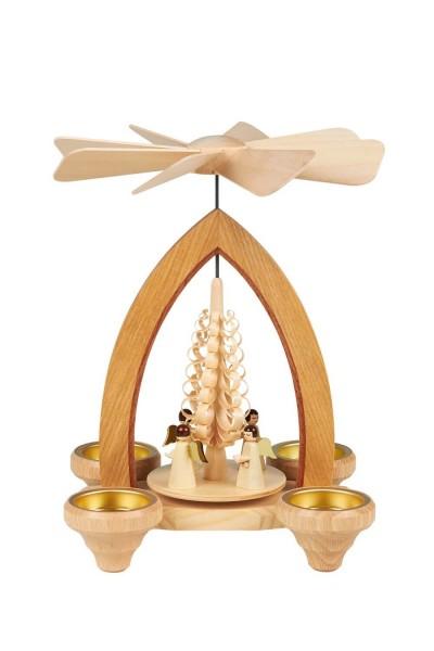 Weihnachtspyramide mit Engel, natur, 26 cm hergestellt von Heinz Lorenz Olbernhau/ Erzgebirge_Bild1