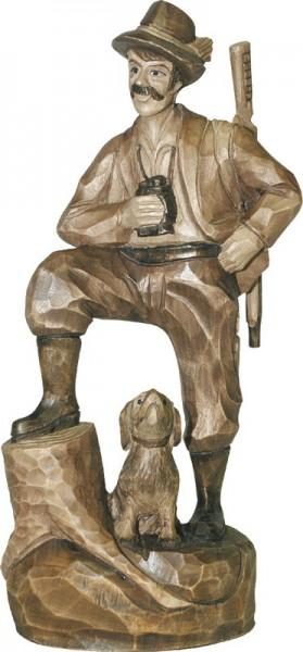 Förster mit Hund, gebeizt, geschnitzt, 25 cm