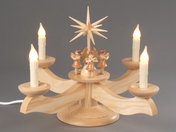 Adventsleuchter, natur - 4 stehende Engel, elektrisch beleuchtet, Adventsleuchter aus massivem Eschen- und Ahornholz, naturbelassen, elektrische Beleuchtung …