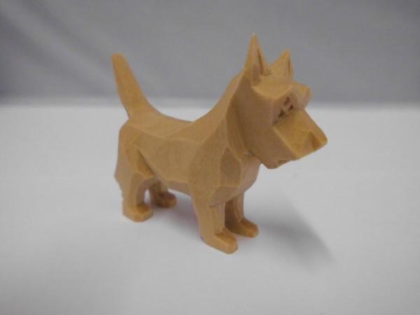 Nestler-Seiffen, geschnitzte Dekofigur Hund (Schnauzer), 4 cm