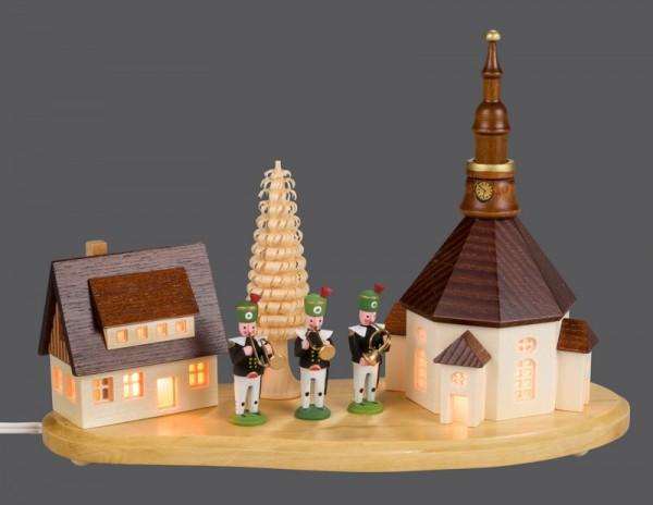 Sockelbrett Seiffener Dorf mit Bergmannskapelle, klein, komplett elektrisch beleuchtet, 20 x 8 x 14 cm, Nestler-Seiffen.com OHG Seiffen/ Erzgebirge
