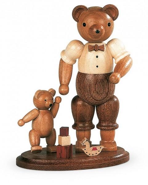 Dekofigur Bärenvater mit spielendem Kind aus Holz, naturfarben von Müller Kleinkunst aus Seiffen