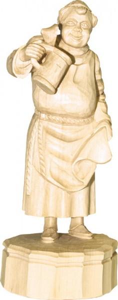 Mönch mit Bierkrug, natur, geschnitzt, 25 cm