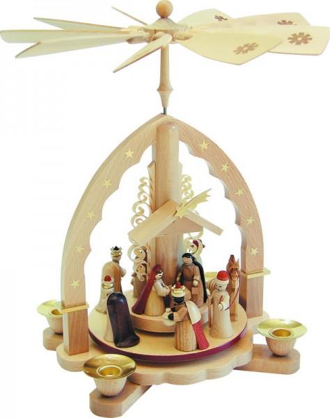 Weihnachtspyramide Christi Geburt, helles Gehäuse, 27 cm, Richard Glässer GmbH Seiffen/ Erzgebirge