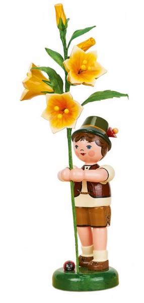 Junge mit Lilie aus Holz aus der Hubrig Serie Blumenkinder