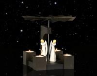 Vorschau: KWO Weihnachtspyramide Eiche, Farbton Mooreiche beispielbild mit Figuren