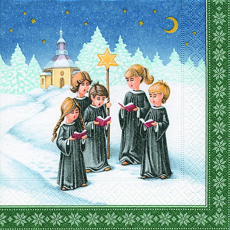 Weihnachtsservietten mit Kurrendemotiv, 20 Stück, 3 - lagig, 33 x 33 cm