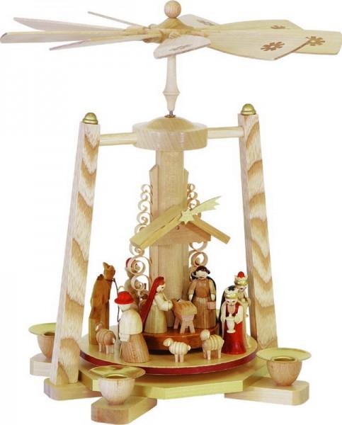 Weihnachtspyramide Christi Geburt, natur, 29 cm, Richard Glässer GmbH Seiffen/ Erzgebirge