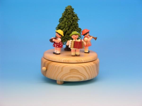 Spieluhr & Spieldose natur mit 3 Instrumentenkindern, 13,0 x 13,0 x 14,0 cm, Frieder & André Uhlig Seiffen/ Erzgebirge