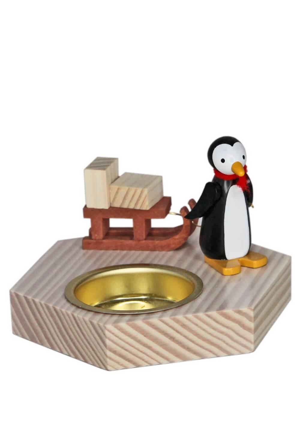 Teelichthalter Pinguin mit Schlitten, 6 cm von Volker Zenker aus Seiffen