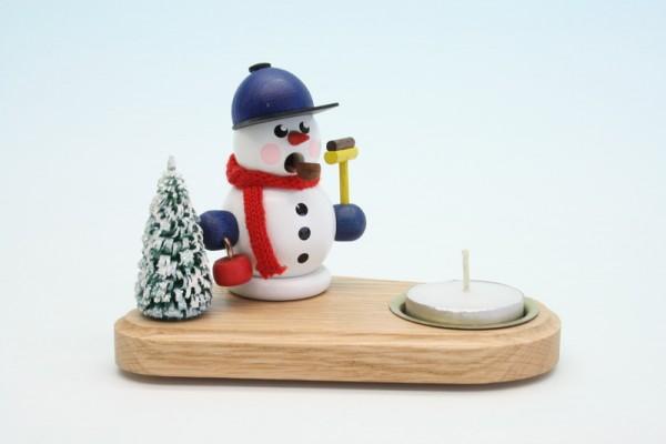 Weihnachtskerzenhalter Schneemann Curlingspieler, weiß, 14 x 8 x 8 cm, Gerd Hofmann Seiffen/ Erzgebirge