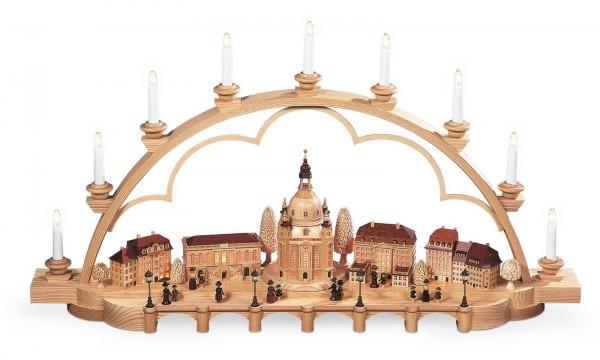 Schwibbogen von Müller Kleinkunst mit dem Motiv historischen Alt Dresden, groß, natur mit 230 V