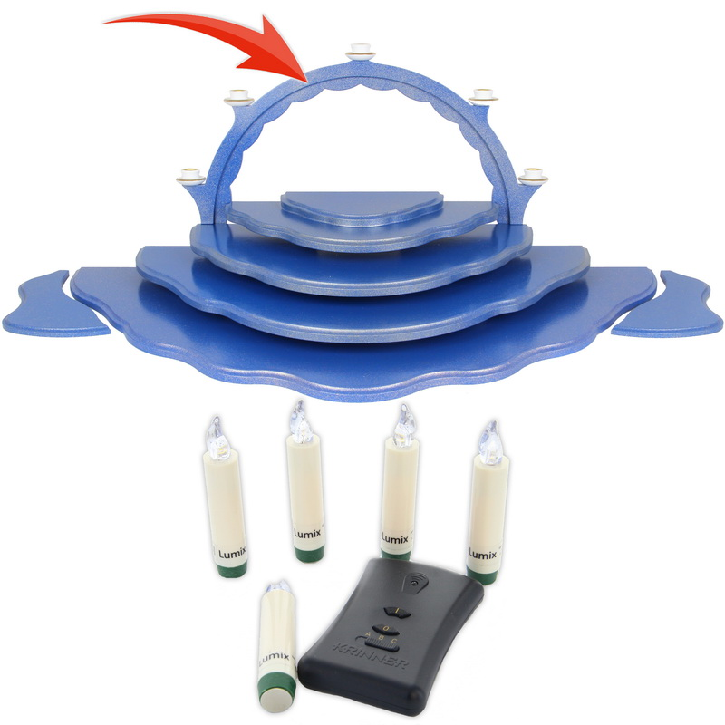 Schwibbogen, 5 LED Kerzen, Fernbedienung, inkl. Batterien, Bedienungsanleitung für Wolkenstecksystem blau/gold der Serie Uhlig Engel bunt mit blauen Flügeln, …