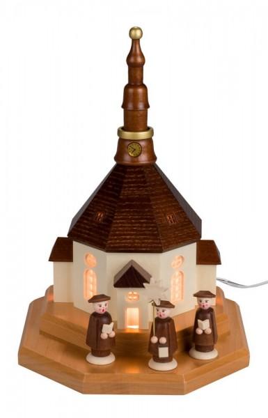 Sockelbrett Seiffener Kirche von Nestler-Seiffen mit Kurrende, komplett elektrisch beleuchtet _Bild1