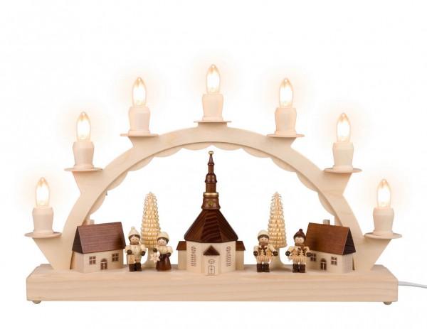 LED Schwibbogen von Nestler-Seiffen mit dem Motiv kleines Seiffener Dorf mit Thiel Kinder_Bild1