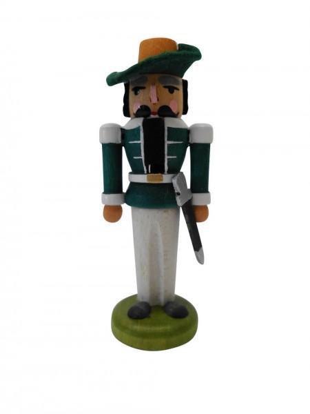 Miniaturnussknacker Musketier, grün, 7 cm, Seiffen/ Erzgebirge