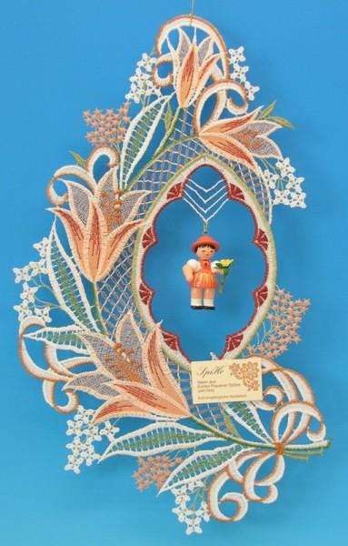 Fensterbild Plauener Spitze Lilie, Blumenkinder, 22 x 38 cm von Frieder & André Uhlig Seiffen/ Erzgebirge