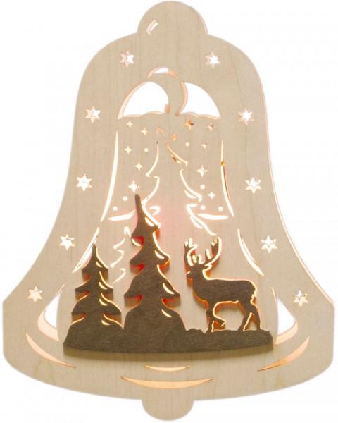 Weigla Beleuchtetes Fensterbild Glocke mit Waldmotiv