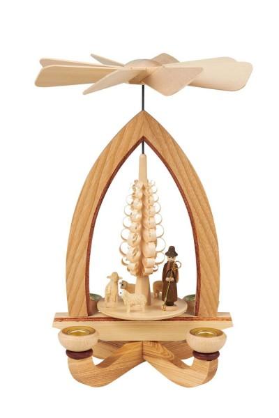 Weihnachtspyramide mit Schafen, natur, 25 cm hergestellt von Heinz Lorenz Olbernhau/ Erzgebirge_Bild1