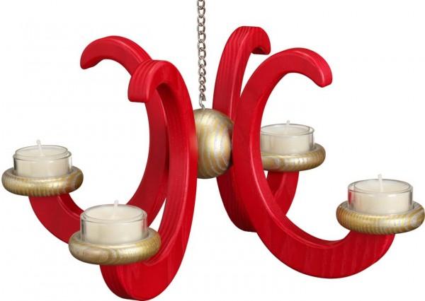 Deckenleuchter, Adventsleuchter, hängend in Esche rot lasiert