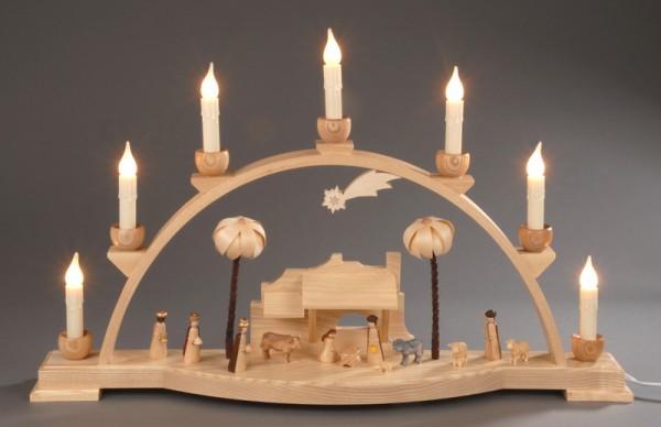Schwibbogen, natur - Christi Geburt, elektrisch beleuchtet aus massivem ausgesuchten Eschenholz gefertigt, naturbelassen, elektrisch beleuchtet, 230V oder …