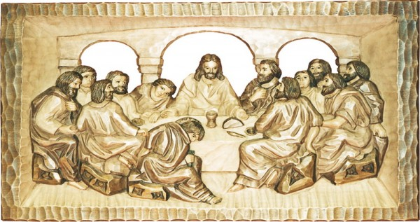 Relief Abendmahl, gebeizt, geschnitzt, 55 x 29 cm