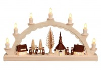 Vorschau: Schwibbogen mit dem Motiv Seiffener Dorf mit Kurrende, komplett elektrisch beleuchtet von Nestler-Seiffen_Bild1