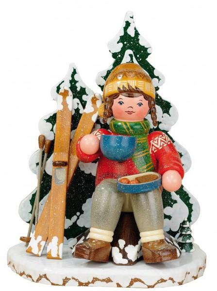 Räuchermännchen Winterkind Schneeschuhfahrerin von Hubrig Volkskunst GmbH Zschorlau/ Erzgebirge ist 20 cm groß.