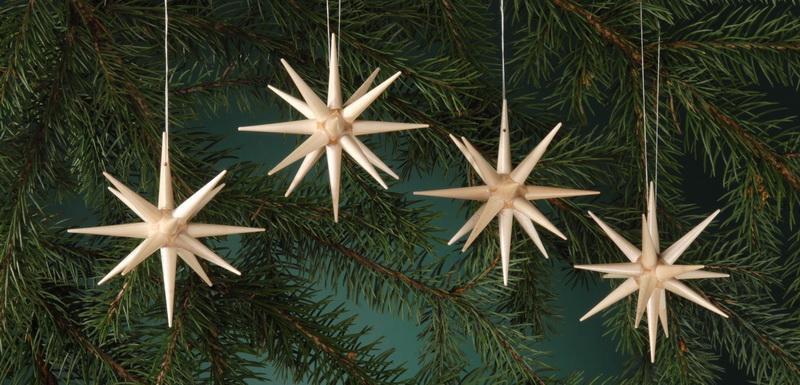 Baumbehang & Christbaumschmuck aus Holz, natur - große Weihnachtssterne, 4-teilig, 10 cm, Albin Preißler Seiffen/ Erzgebirge