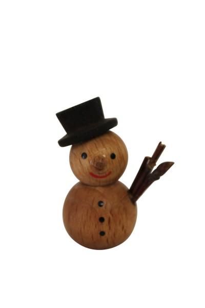 Nestler-Seiffen, Dekofigur Schneemann natur mit schwarzem Hut