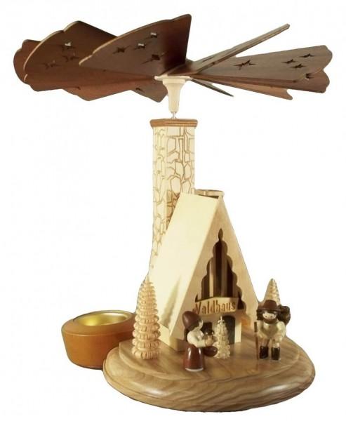 Weihnachtspyramide & Räucherpyramide Waldhaus für Teelichter, natur, 26 cm, Legler Holz- und Drechslerwaren Olbernhau/ Erzgebirge