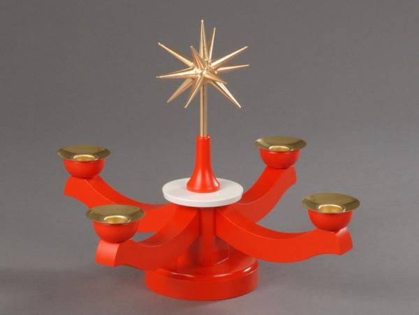 Adventsleuchter, rot - Weihnachtsstern, Adventsleuchter aus massivem Buchenholz, rot lackiert, Stern in Handarbeit gefertigt, bronzefarbig lackiert , Farbe: …