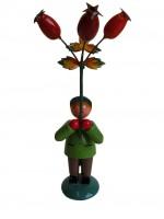 Vorschau: Blumenkinder - Blumenkind Junge mit Hagebutte, handbemalt, 12 cm von WEHA-Kunst Dippoldiswalde/ Erzgebirge