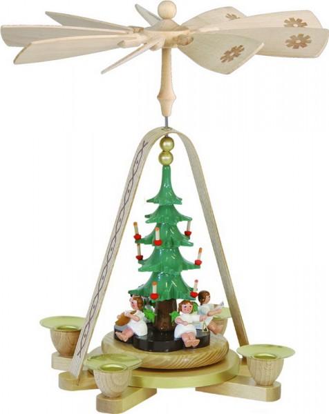 Weihnachtspyramide Engel mit Christbaum, 28 cm, Richard Glässer GmbH Seiffen/ Erzgebirge
