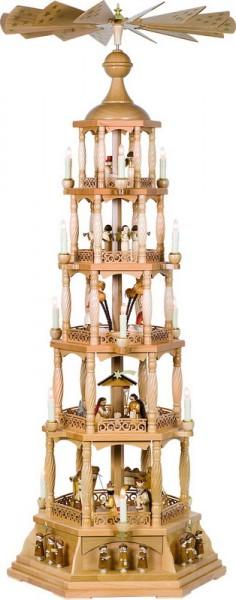 Weihnachtspyramide Christi Geburt, 5 - stöckig, elektrisch angetrieben und beleuchtet, 140 cm, Richard Glässer GmbH Seiffen/ Erzgebirge