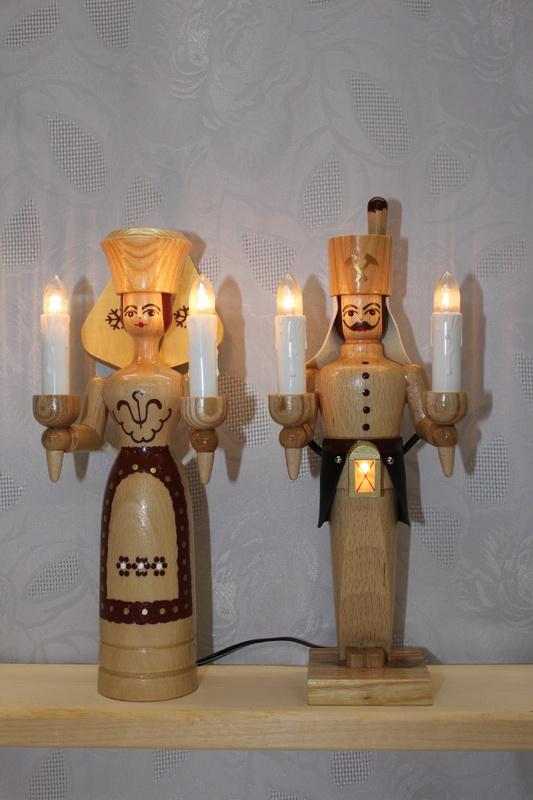 Engel und Bergmann, 26 cm hoch, natur, elektrisch beleuchtet mit eigenem Trafo für jede Figur von Nestler-Seiffen.com OHG Seiffen/ Erzgebirge