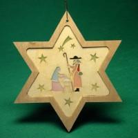 Vorschau: Stern mit Diaphanbild Heilige Familie, 8 cm, Richard Glässer GmbH Seiffen/ Erzgebirge