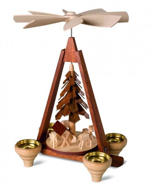 Weihnachtspyramide von Müller Kleinkunst mit geschnitzten Rehen, natur, 29 cm hergestellt in Seiffen im Erzgebirge