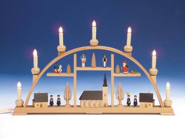 Schwibbogen Schneeberger Motiv, komplett elektrisch beleuchtet, 63 cm, Knuth Neuber Seiffen/ Erzgebirge