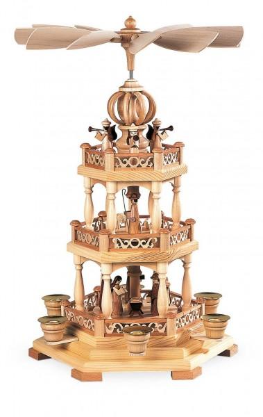 Weihnachtspyramide Heilige Geschichte, 2 - stöckig, 44 cm hergestellt von Müller Kleinkunst aus Seiffen