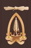 Vorschau: Teelichtpyramide mit Kurrende, 28 cm hergestellt von Heinz Lorenz Olbernhau/ Erzgebirge_Bild2