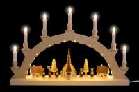 Vorschau: Der LED Schwibbogen Seiffener Dorf mit 2-facher Beleuchtung verzaubert mit seiner wunderschönen Illuminierung des Bogens. Neben den klassischen 7 Kerzen auf …