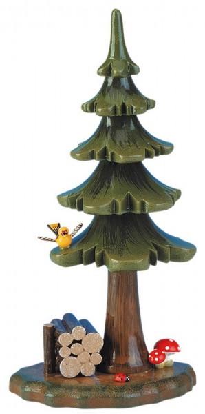 Dekofigur aus Holz Sommerbaum mit Holzstamm von Hubrig Volkskunst GmbH Zschorlau/ Erzgebirge ist 16 cm groß.